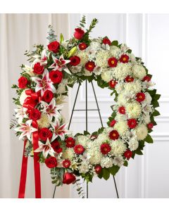 Serene Blessings Wreath in Red & White