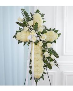 Peace & Prayers Standing Cross In White