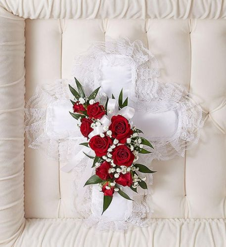 Red & White Satin Cross Pillow Cross