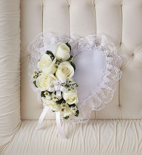 White Satin Heart Pillow Cross
